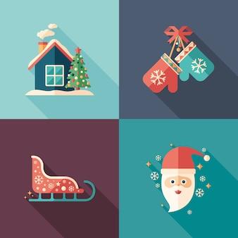 Santa e natal humor plana ícones quadrados definido.