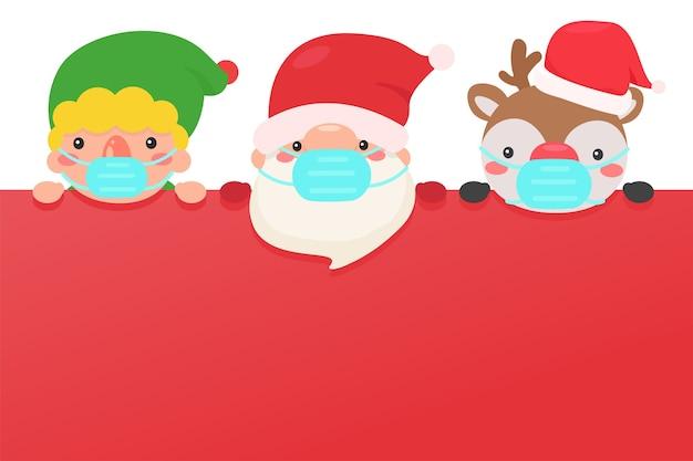 Santa elves e rena usam máscaras para prevenir o coronavirus durante o inverno de natal.