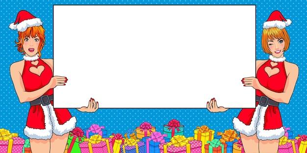 Santa gêmea mostrando um gesto de espaço vazio apresentando algo no estilo de quadrinhos pop art