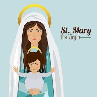 Santa maria a virgem segurando o menino jesus