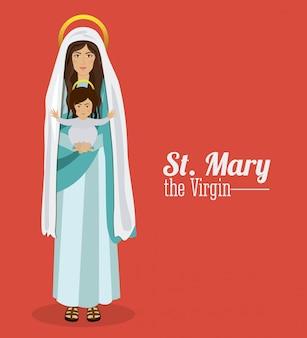 Santa maria segurando o menino jesus