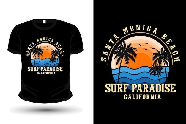 Santa monica praia califórnia mercadoria silhueta t-shirt design estilo retro