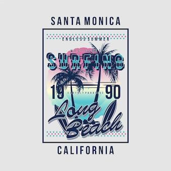 Santa monica surfando para t-shirt design tipografia ilustração