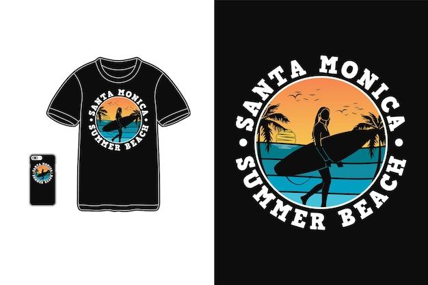 Santa monica verão praia camiseta design silhueta estilo retro