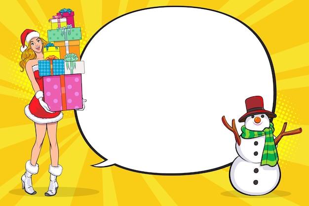 Santa mulher carrega caixas de presente e boneco de neve com estilo de quadrinhos pop art copy space