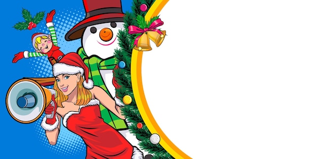 Santa mulher segurando o megafone com boneco de neve e elfo com moldura de natal banner pop art comic style