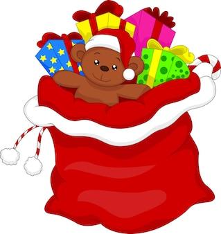 Santa sacolinha cheia de brinquedos e presentes sobre branco