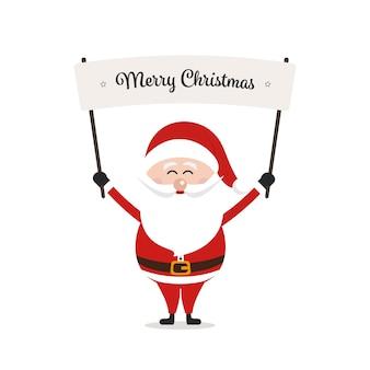 Santa segurando feliz natal sinal fundo isolado
