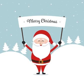 Santa segurando feliz natal sinal inverno paisagem fundo
