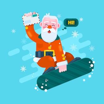 Santa snowboard. cartão de feliz natal com paisagem de neve. ilustração do vetor