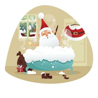 Santa tomando banho