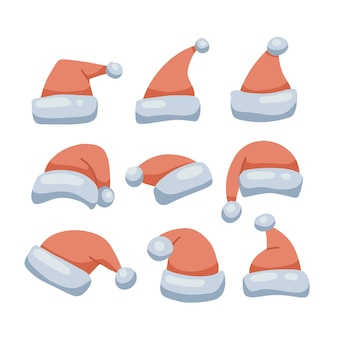 Santa vermelho chapéus definir natal engraçado bonés coleção santa roupas quente chapéu isolado vetor plana illus ...