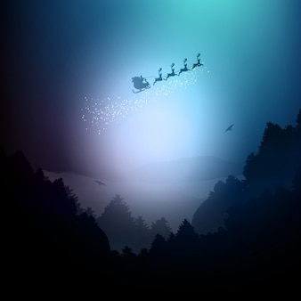 Santa voando sobre uma paisagem de montanhas e árvores