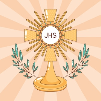 Santíssimo sacramento com folhas decoradas. ilustração dos desenhos animados do corpus christi anfitrião católico
