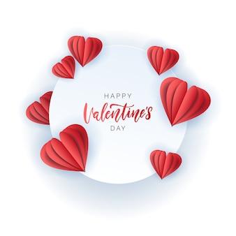 Santo dia dos namorados cartão com papel vermelho corta corações. quadro redondo com letras de mão. ilustração vetorial