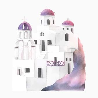 Santorini cycladic houses watercolor illustration