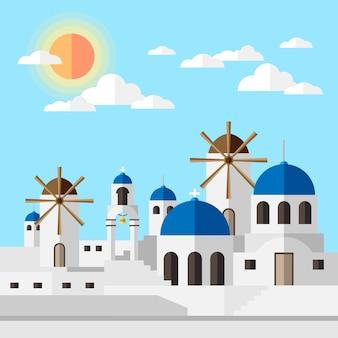 Santorini ensolarada com edifícios