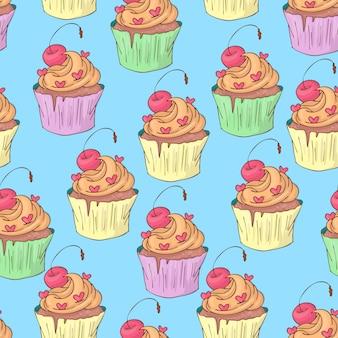 São valentim s dia sem costura padrão com cupcakes. Vetor Premium