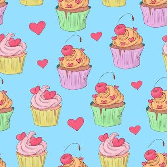São valentim s dia sem costura padrão com cupcakes.