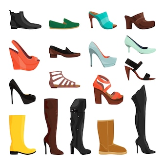 Sapatas das mulheres em estilos diferentes. ilustrações vetoriais. conjunto de elegância de calçado feminino e glamour