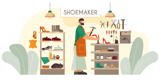 Sapateiro sapatos feitos sob medida serviço de conserto de calçados fixando saltos em bombas vermelhas femininas composição plana