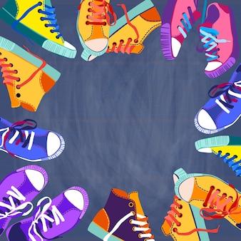 Sapatilhas coloridas, conjunto de sapatos de desporto de formação