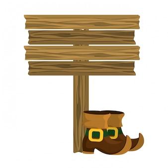 Sapato de duende sinal de estrada de madeira