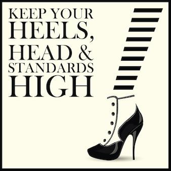 Sapato de mulher moda com citações. ilustração vetorial.