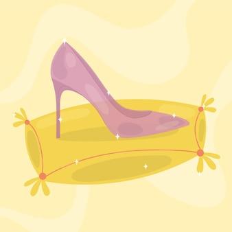 Sapato de vidro rosa perdido da cinderela no travesseiro amarelo