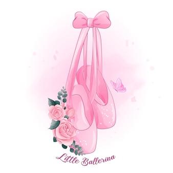 Sapatos de bailarina fofos com ilustração de rosas