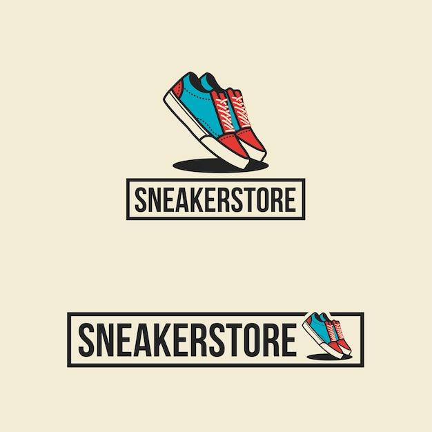 Sapatos de logotipo da loja de tênis