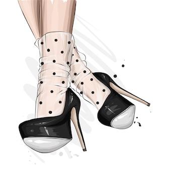 Sapatos de mulher bonita e elegante. saltos altos na moda. moda e estilo, roupas e acessórios. ilustração vetorial