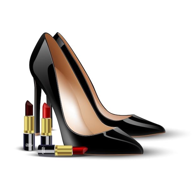 Sapatos de senhora negra e batom no fundo isolado