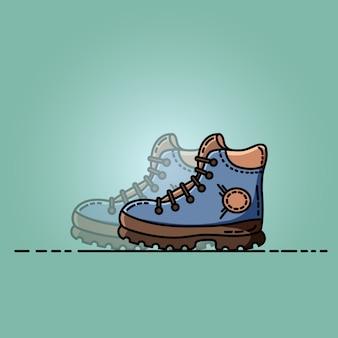 Sapatos de trekking ilustração plana