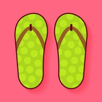 Sapatos de verão lisos flip-flops. ilustração em vetor de sapatos de férias planos estilizados