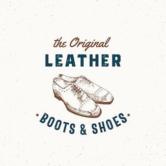 Sapatos e botas de couro original retro sinal, símbolo ou logotipo modelo. ilustração de sapato masculino e emblema de tipografia vintage com textura surrada. isolado.