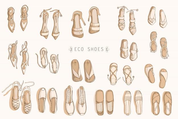 Sapatos eco das mulheres