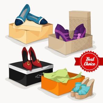 Sapatos femininos de projeto do fundo