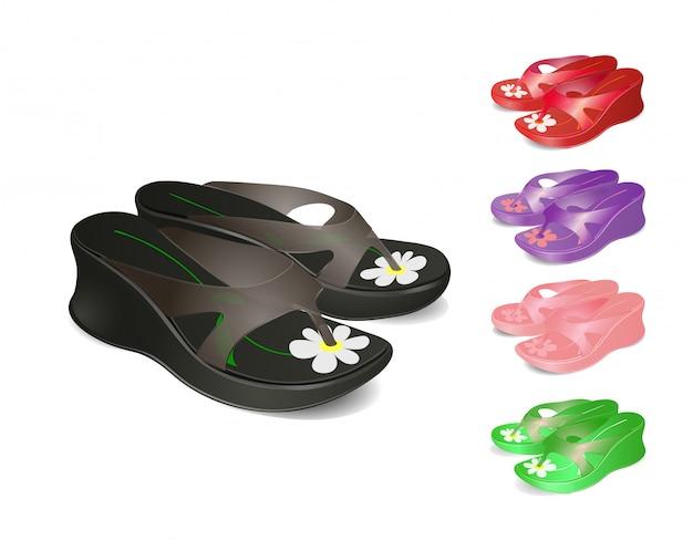 Sapatos femininos de verão.