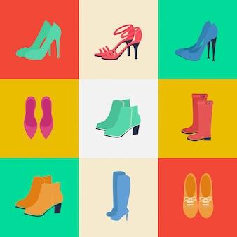 Sapatos femininos. moda feminina. sapatos sazonais. conjunto de ícones. botas, louboutin, sapatos. ilustração vetorial. estilo plano