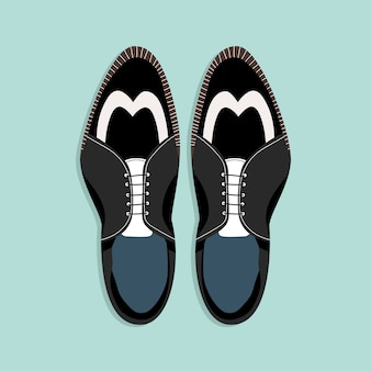 Sapatos masculinos com atacadores. vista de cima para baixo. ilustração preto e branco clássica das sapatas dos homens. clipart desenhado à mão para web e impressão. na moda - ilustração do estilo de um par de sapatos de homens.