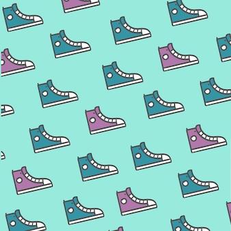 Sapatos padrão roxo e azul