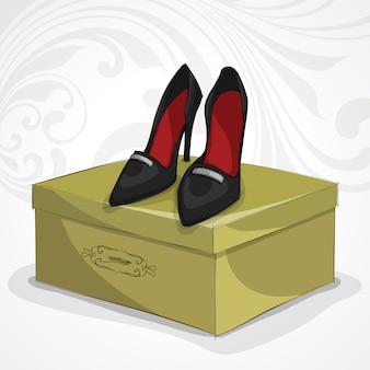 Sapatos pretos de couro da mulher clássica