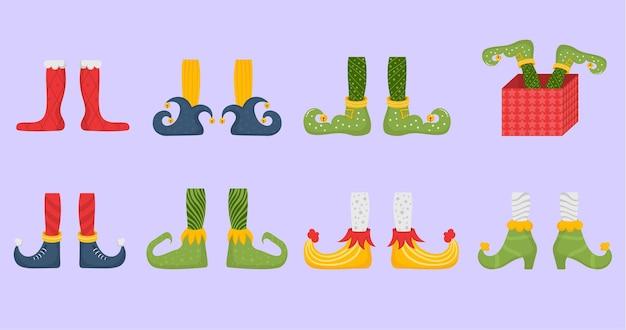 Sapatos rasos de pés de duende para duendes pés de papai noel ajudantes perna de anão em calças meias e botas engraçadas