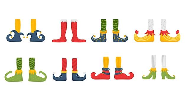 Sapatos rasos de pés de duende para elfos pés de papai noel ajudantes perna de anão em calças meias e botas engraçadas
