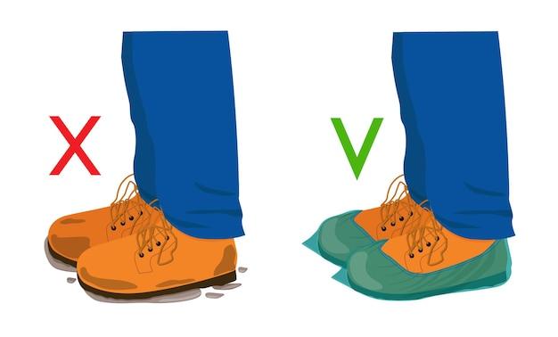 Sapatos sujos e sapatos em capas de sapatos. use coberturas que protegem contra sujeira. vetor