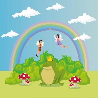 Sapo bonito com arco-íris no conto de fadas de cena