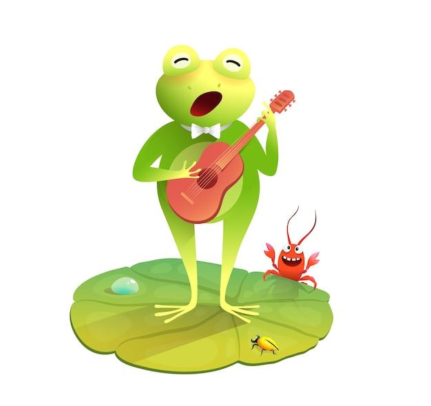 Sapo fofo ou sapo cantando e tocando violão divertido desenho animado de concerto de animais para crianças e crianças