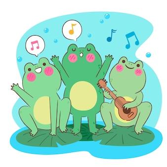 Sapos kawaii felizes cantando e tocando ukulele