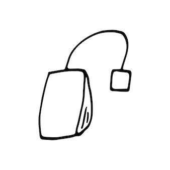 Saquinho de chá desenhado de mão única. ilustração em vetor doodle.